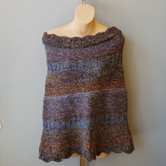 Peruvian Connection Sweaters - Peruvian Connection Off-The-Shoulder Alpaca Poncho